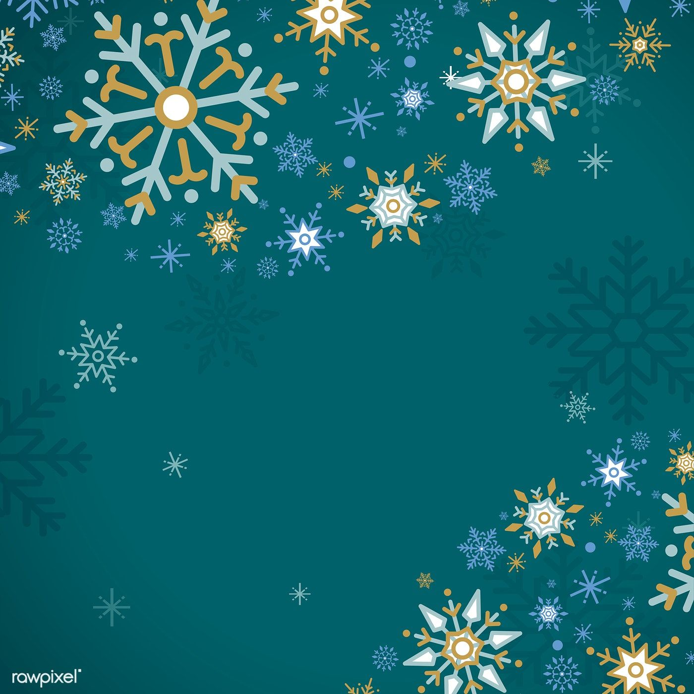Green Christmas winter holiday background with snowflake