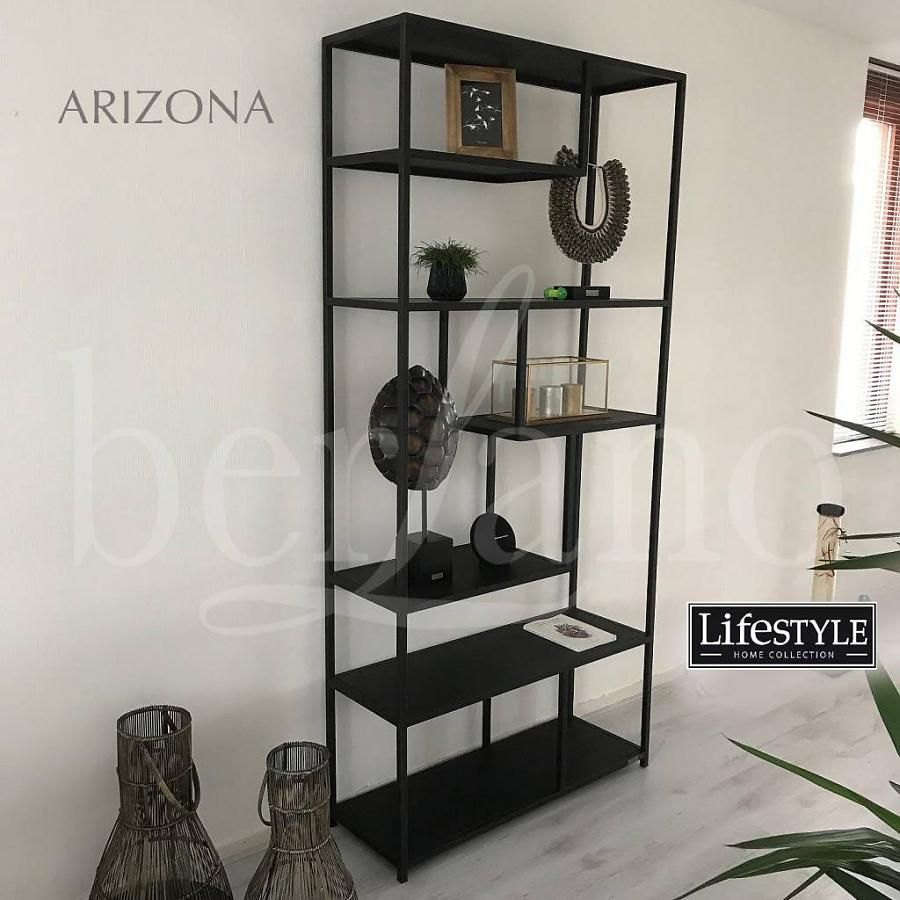 Zwarte Open Kast.Lifestyle 126684 Arizona Shelf 100x35x213 Zwarte Metalen Open Kast