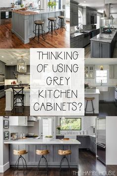 20 Fabulous Kitchens Featuring Grey Kitchen Cabinets | The Happy Housie | Gray and white kitchen layout and cabinet ideas for a gorgeous modern farmhouse kitchen renovation. #graykitchen #kitchenremodel
