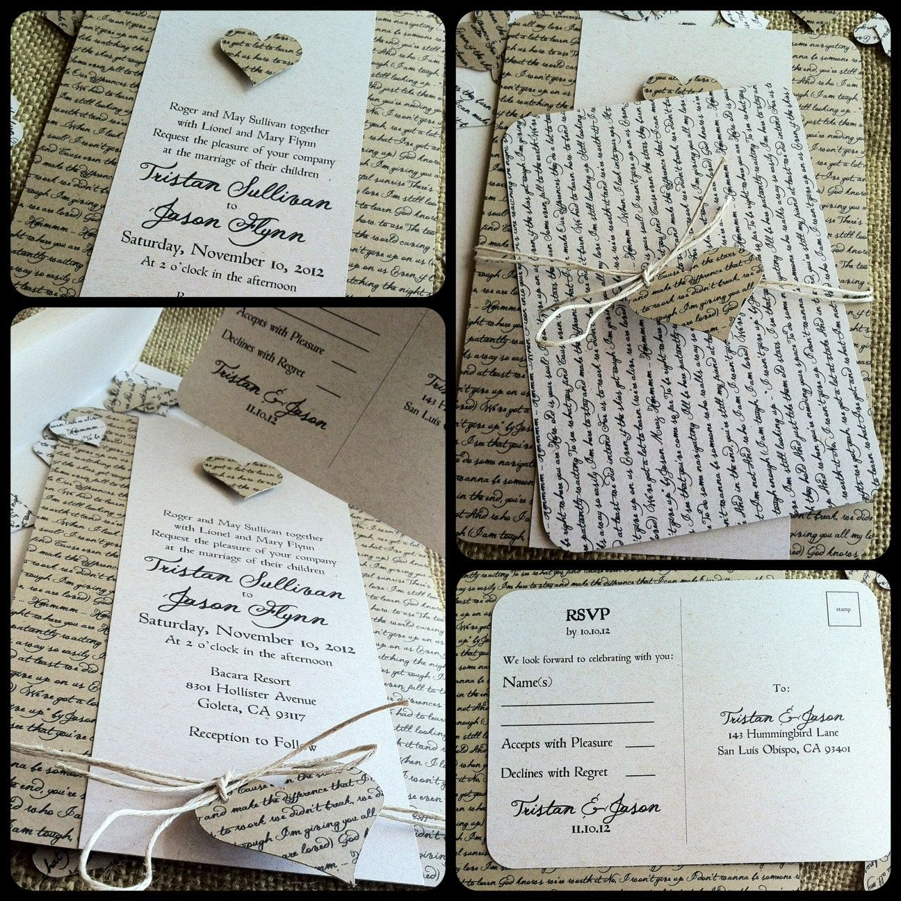 RUSTIC Wedding Invitation   Lyrical Love Collection   Song Lyrics   VINTAGE    Heart   Custom   Recycled   Eco Friendly. $4.75, Via Etsy.