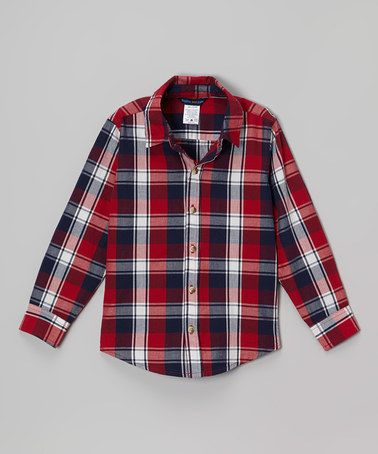 Look what I found on #zulily! Red & Navy Plaid Button-Up - Toddler & Boys #zulilyfinds