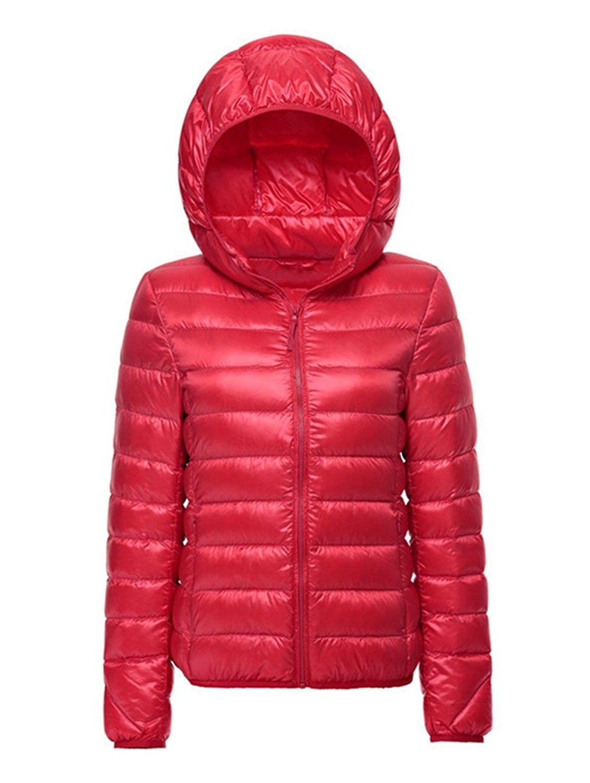 Womens Duck Down Puffer Jacket Ultra Light Winter Down Hooded Coat Outwear NWT