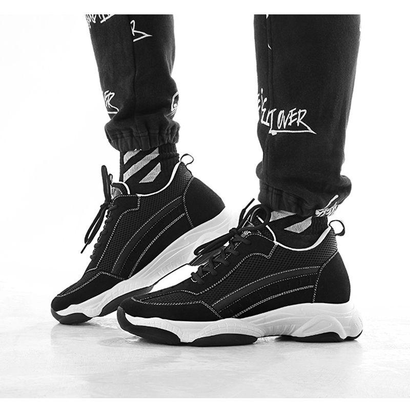 2019 Black Height Increasing Sneakers