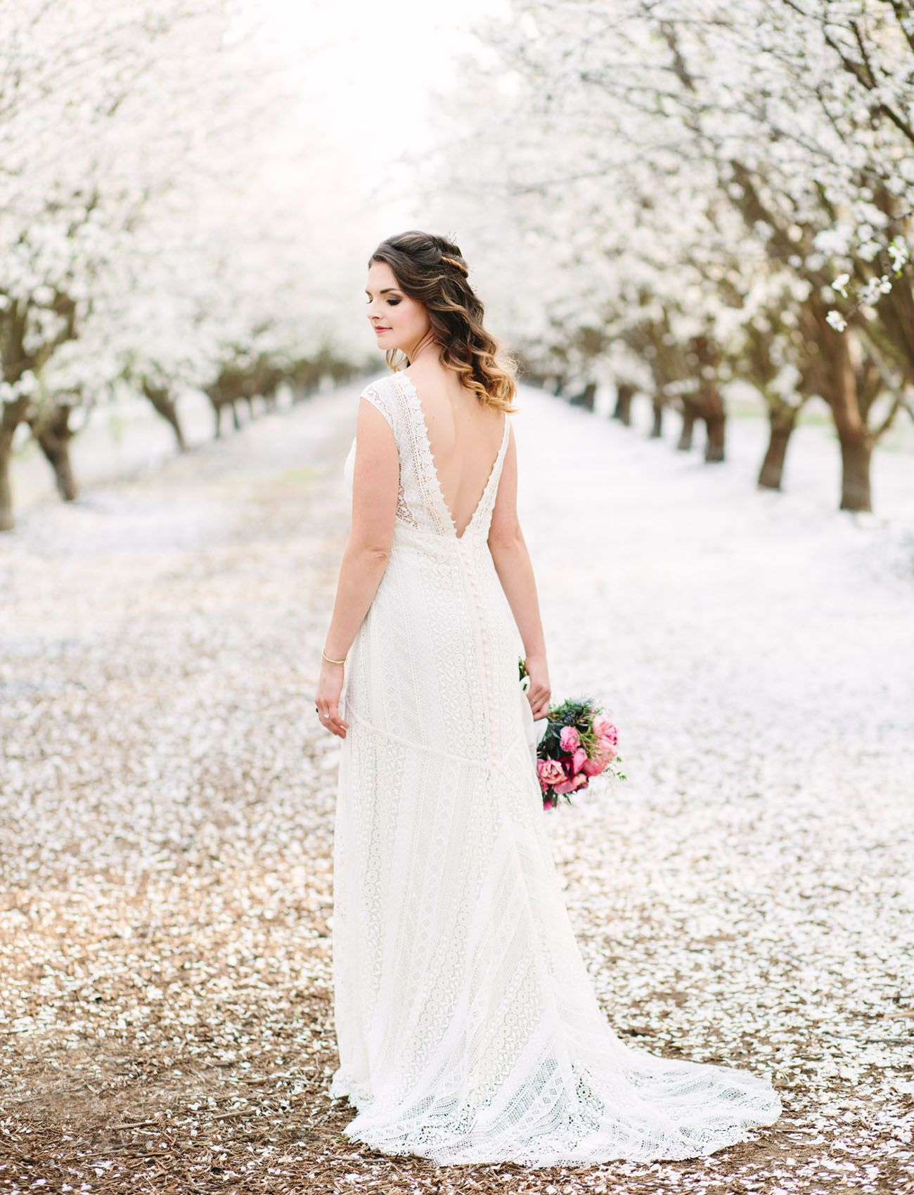 Modern bohemian wedding inspiration in the almond orchards wedding