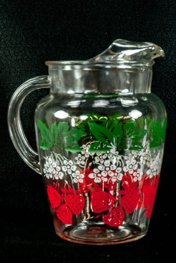 Anchor Hocking Strawberry Leaves Flowers Pitcher Vintage Glass Pitchers Strawberry Dishes Strawberry Leaves