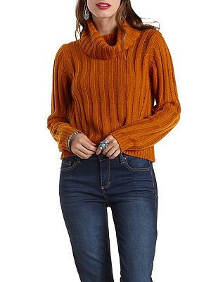 aabb161260b Ribbed Cropped Turtleneck Sweater  Charlotte Russe