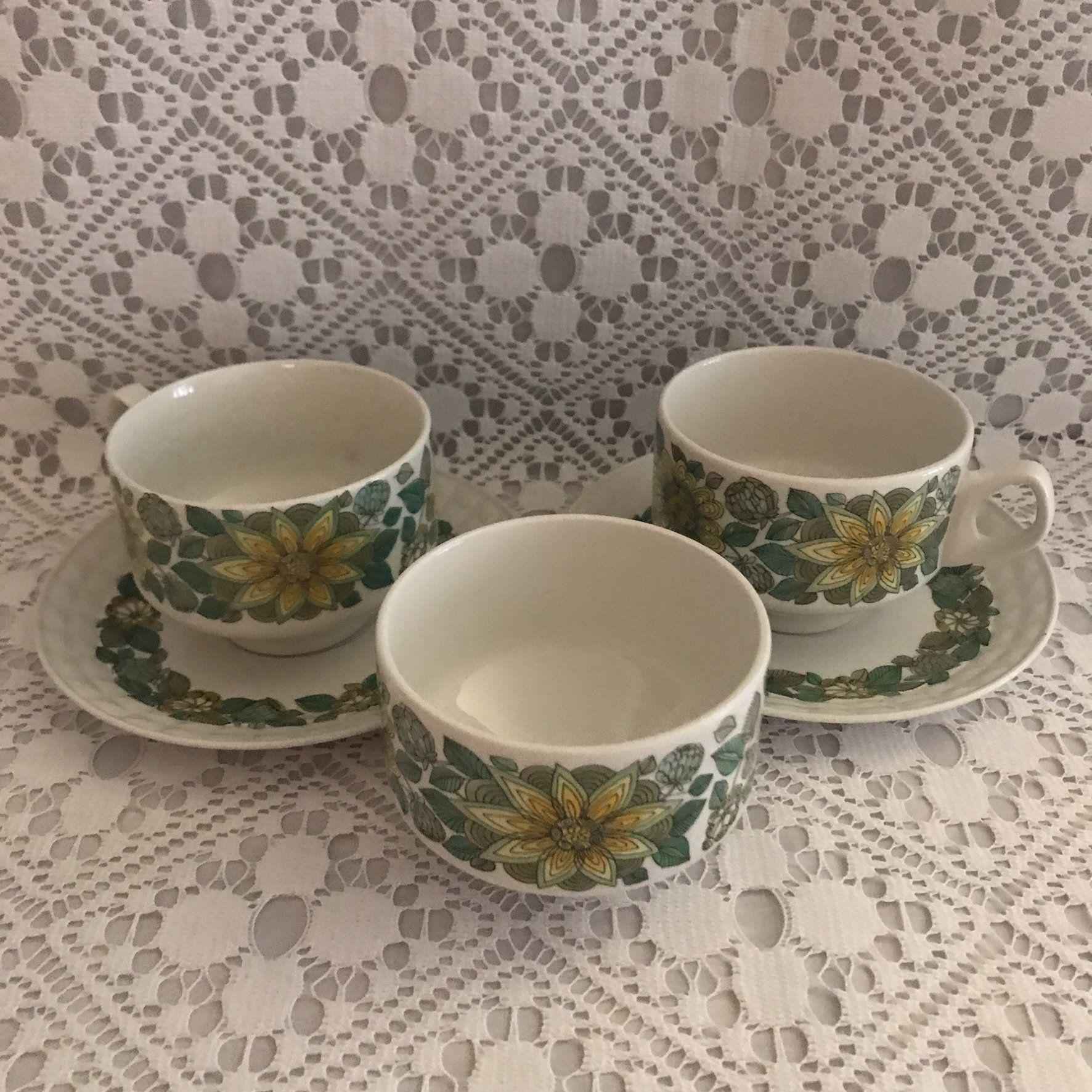 Vintage Pontesa Sevilla Tea Cups and Saucers and Sugar Bowl / Retro Tea Cups and Sugar Bowl / 1970s Tea Cups and Sugar Bowl / Pontesa Spain