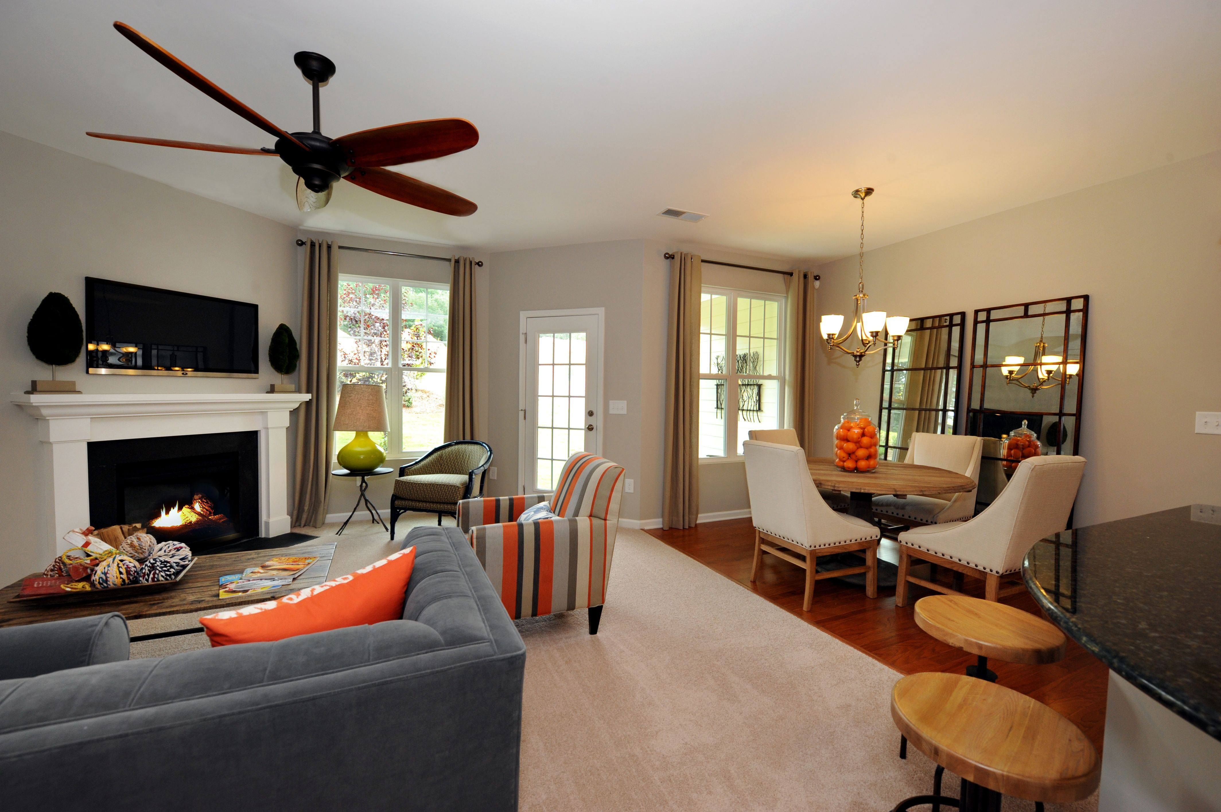 Abbey family room 55 james townhome apex nc new
