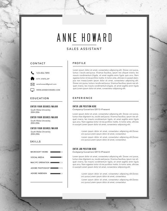 Resume Templates Modern Modern Resume Template Instant Download Minimalist Creative