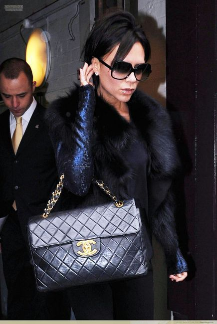 Victoria Beckham With Her Chanel Jumbo Flap