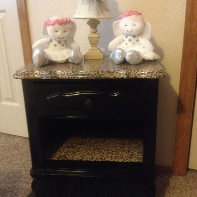 Blonde Furniture Redone In Black With Cheetah Print!