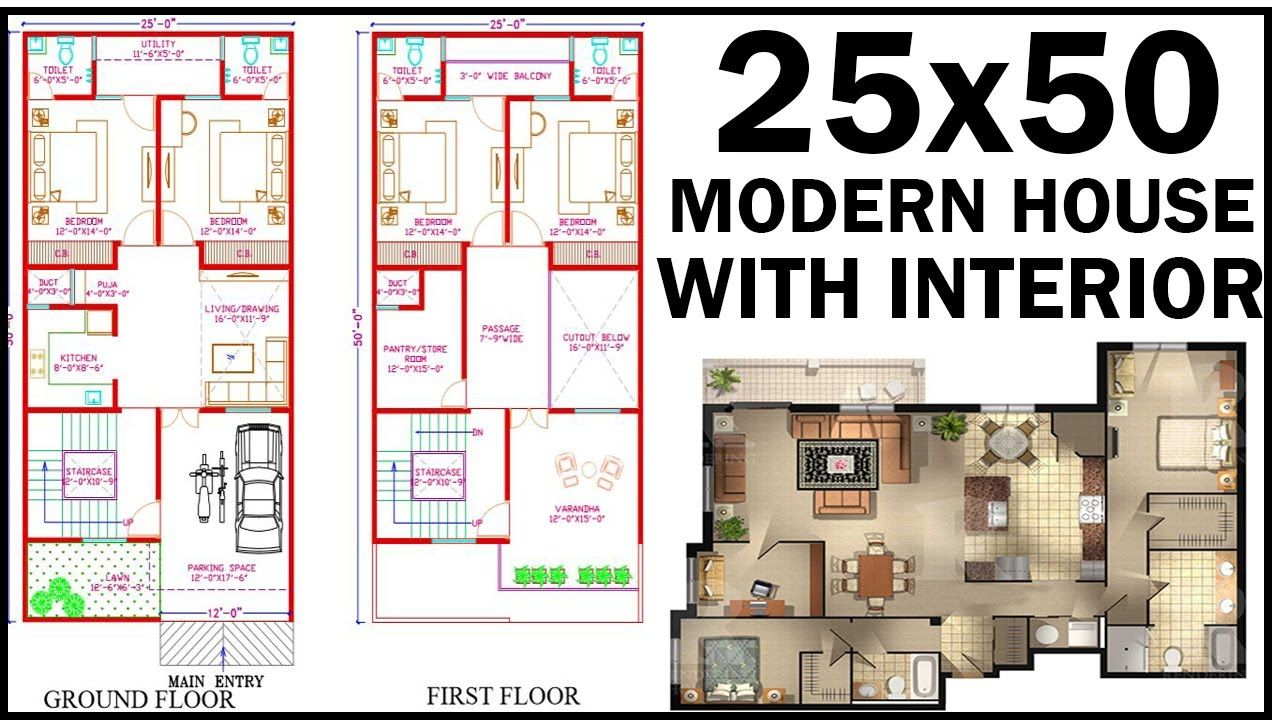 25X50 House Plan With Interior East facing House plan