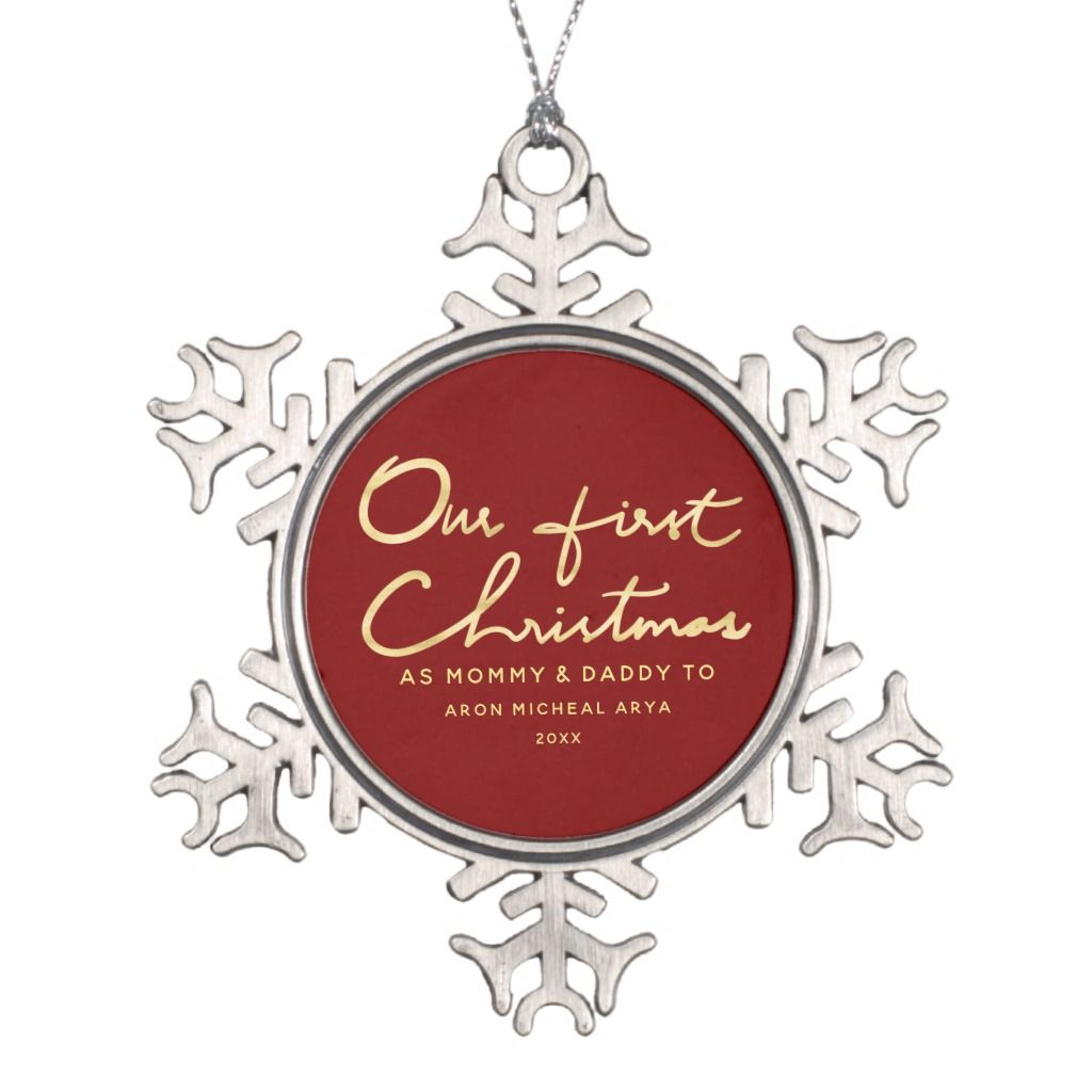 Our First Christmas as Mommy and Daddy Keepsake Snowflake Pewter...