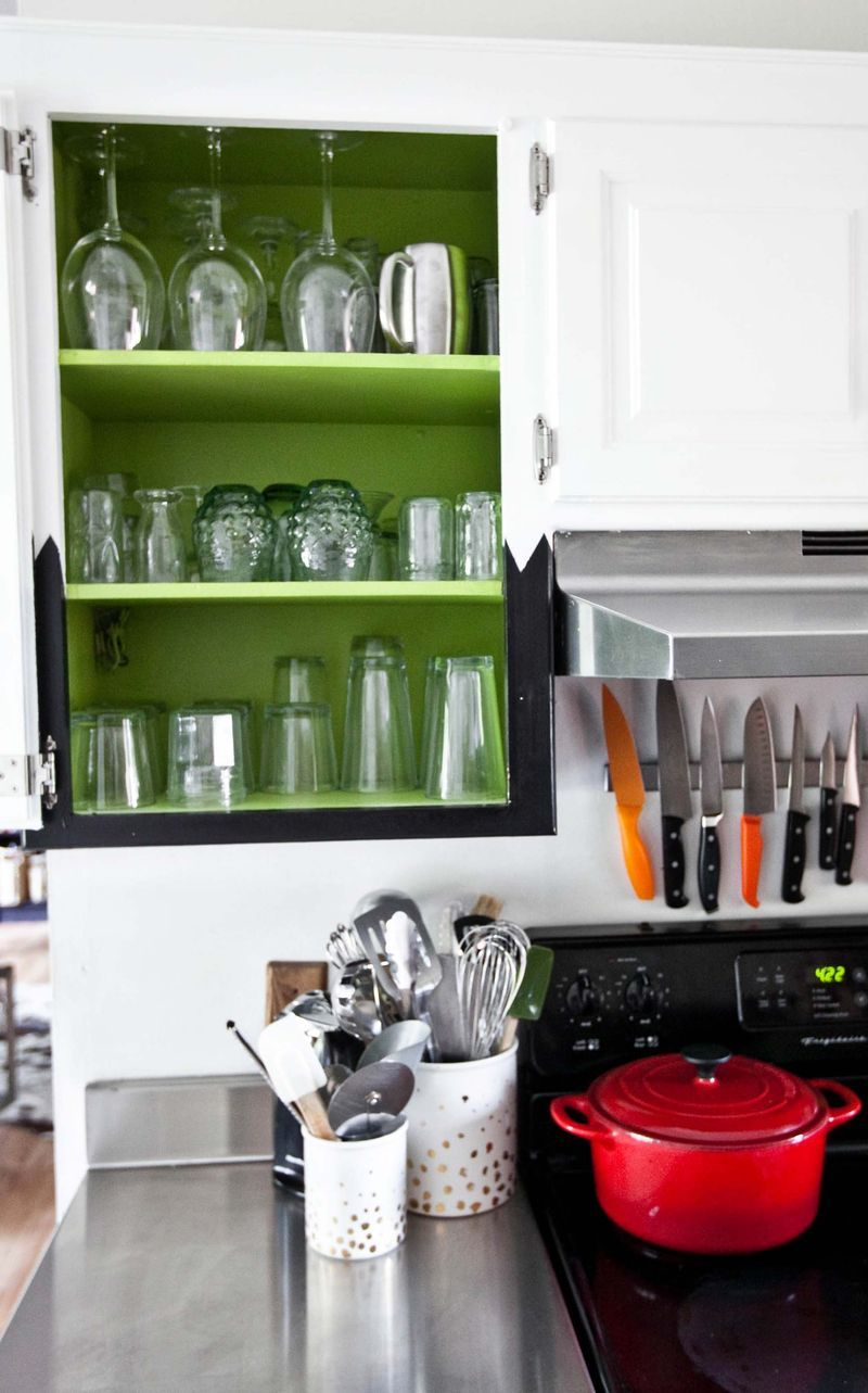 Inside Kitchen Cupboards A Different Brighter Color.