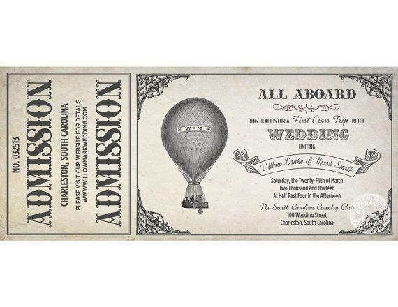 Hot Air Balloon Invitation Set, Printable Ticket ...