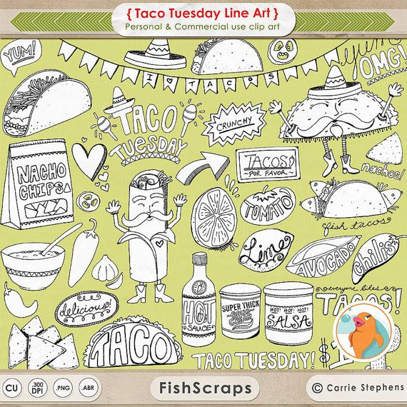 Line Art Food : Taco tuesday line art this mexican food themed clipart