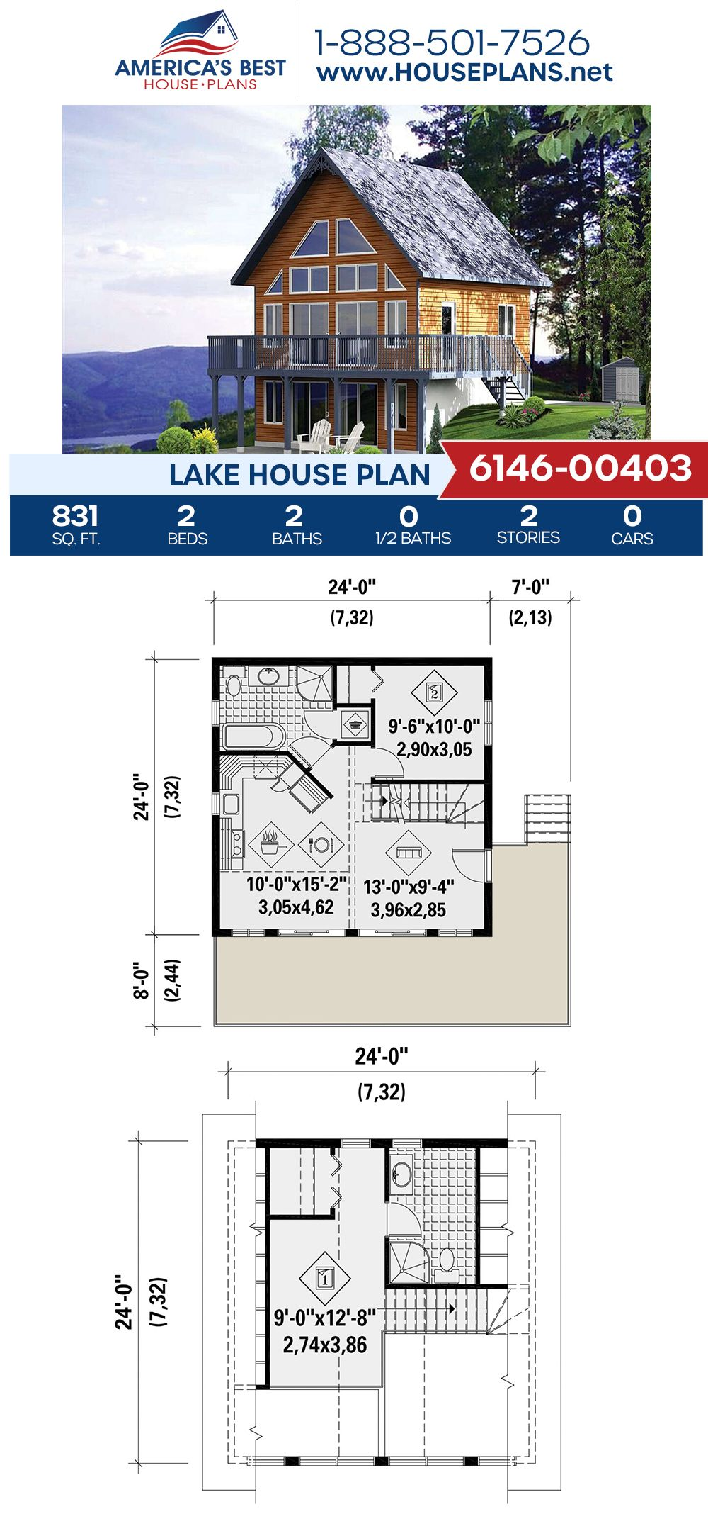 House Plan 6146 00403 Lake Front Plan 831 Square Feet 2 Bedrooms 2 Bathrooms Lake House Plans House Plans Lake House