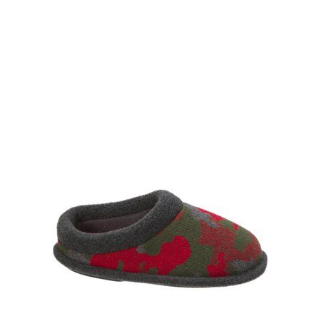 Dearfoams Kids Camo and Fleece Clog Slipper