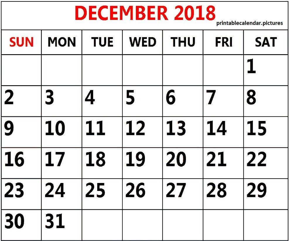 Customize Calendar December 2018 Template December Calendar 2018