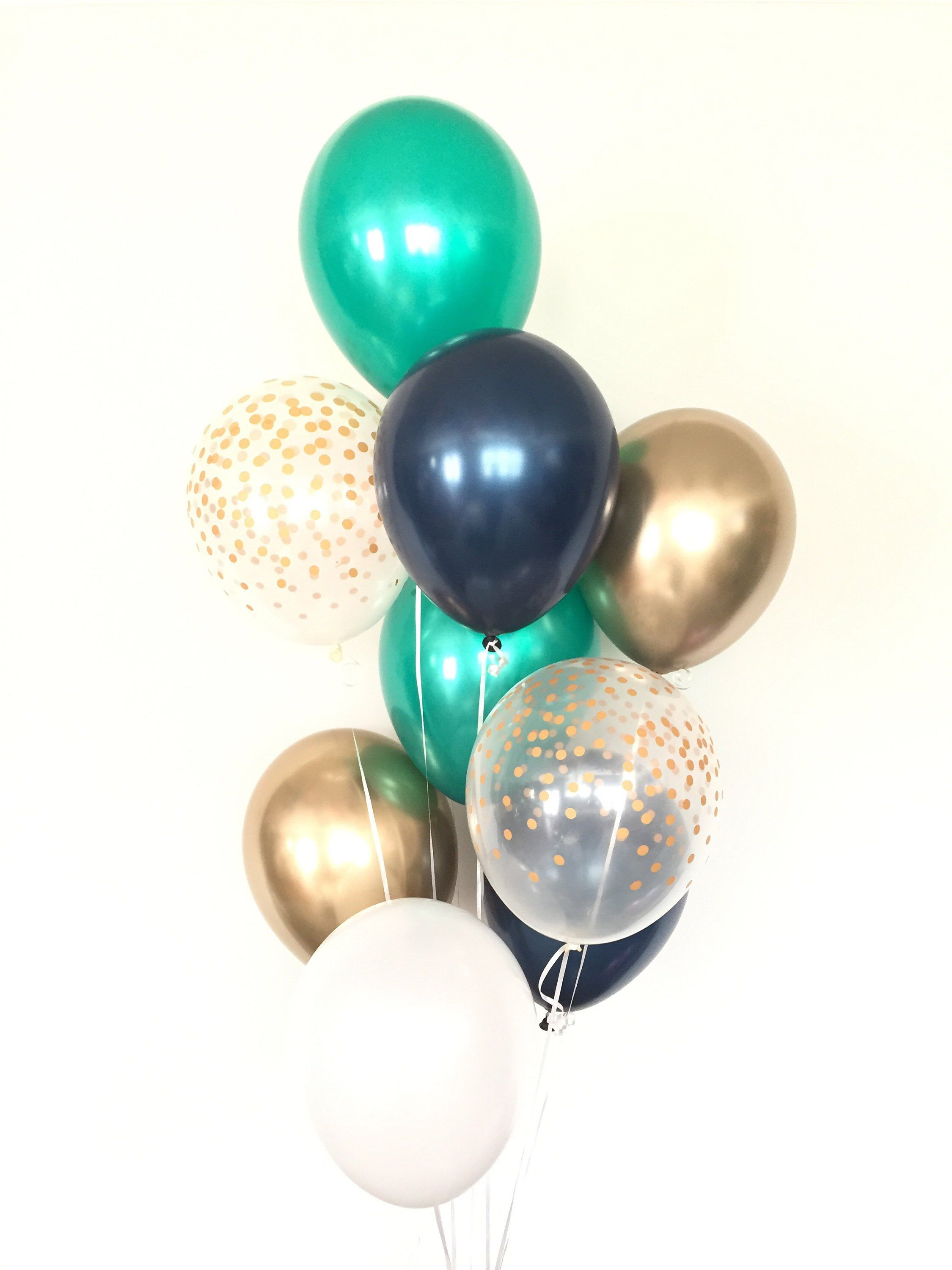 Green Navy And White Balloons