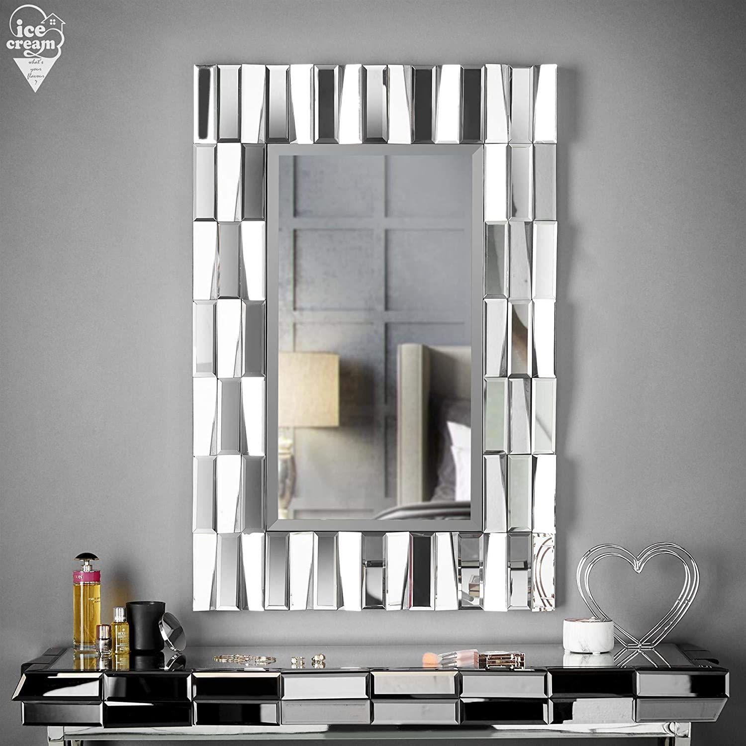 Grey Wall Mirror Rectangle 3d Glass Mirrored Effect For Living Room Hall Bedroom In 2020 Grey Wall Mirrors Rectangle Mirror Interior Design Boards #rectangle #mirror #for #living #room
