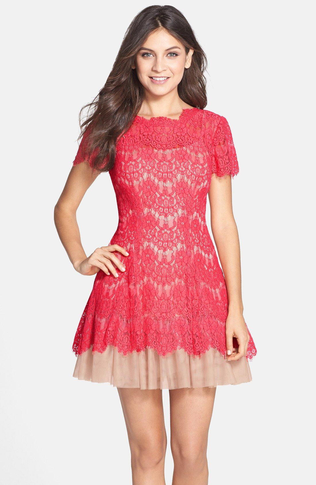 Betsy & Adam Short Sleeve Lace Fit & Flare Dress | My Style ...