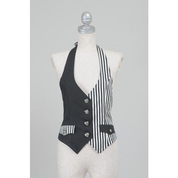 PEACE NOW black/ white striped two tone vest lolita visual kei punk ❤ liked on Polyvore