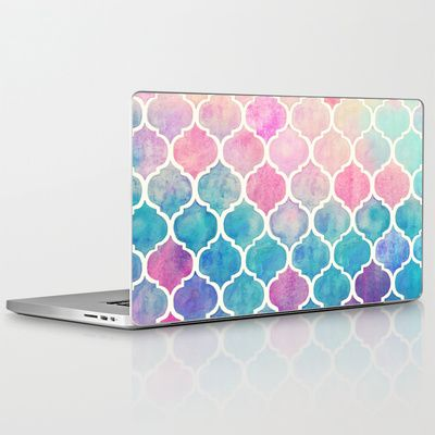 Rainbow Pastel Watercolor Moroccan Pattern Laptop & iPad Skin