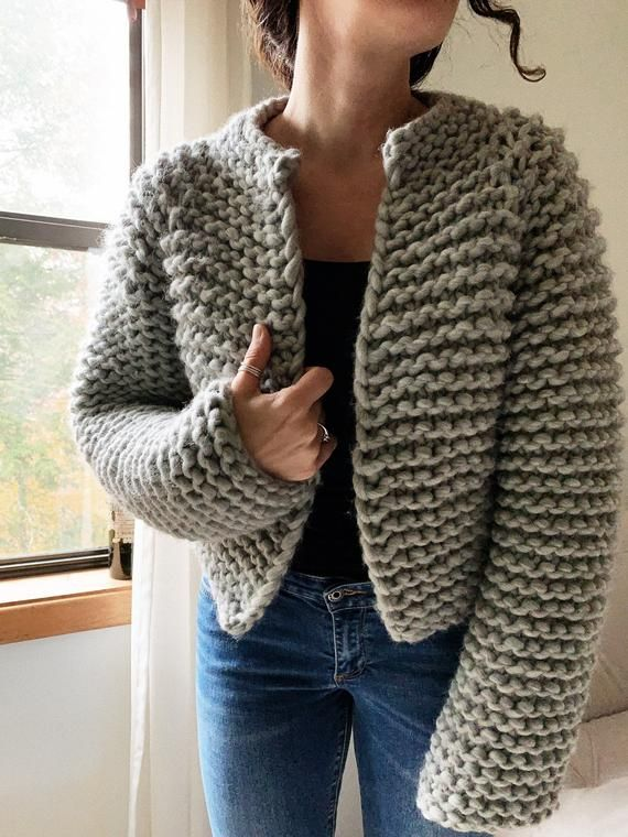 Photo of Beginner Friendly Top Down Knitting Pattern Cropped Sweater Pattern The Harper Wool Jacket