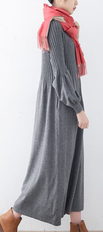 6081b1e7406  58.00-Fine gray sweater dresses plus size v neck long knit sweaters top  quality long knit sweaters  knit sweaterdress sweaterdress omychic