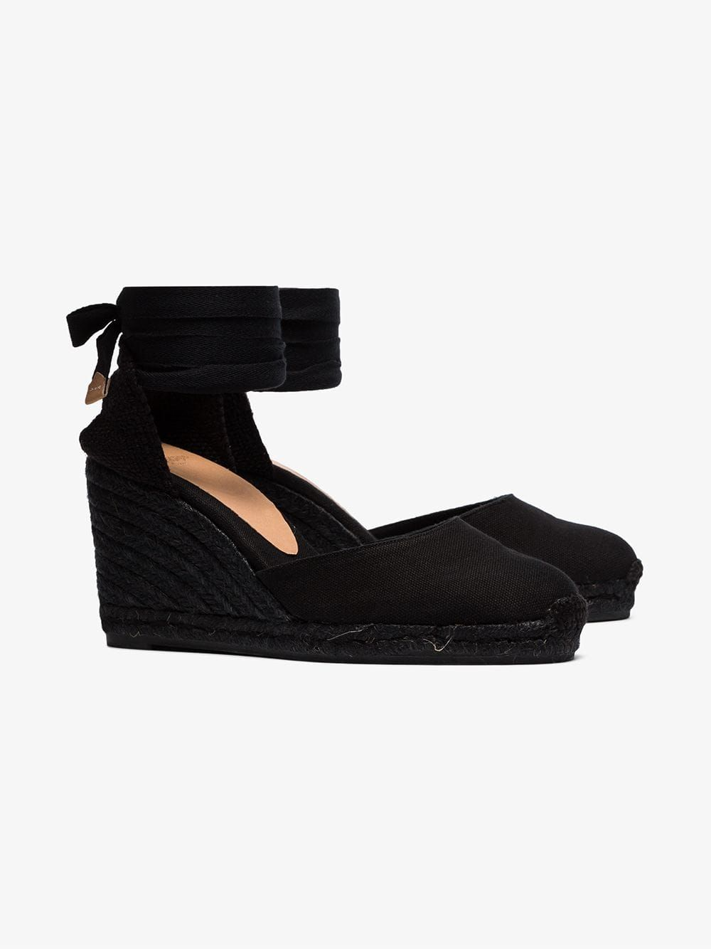 6644e9648fe1 Castañer black Carina 80 ankle tie wedge sandals