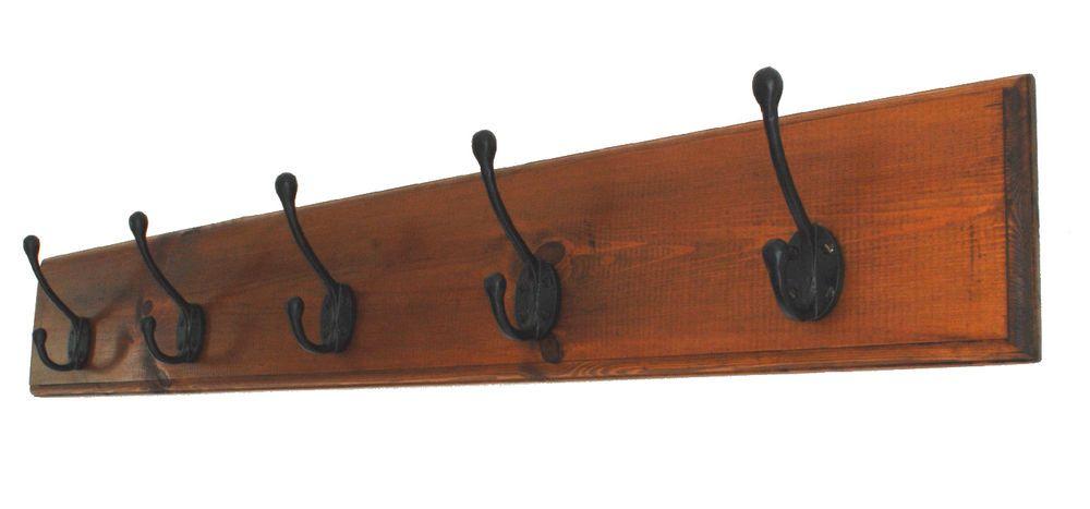 Handmade Wooden Coat Rack With 40 Cast Iron Hooks Wall Mounted Made Impressive Wooden Coat Racks Wall Mounted Uk
