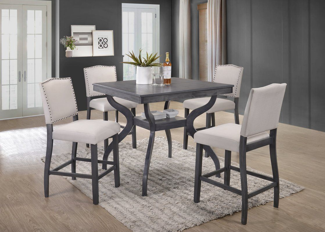 Campton 5 Piece Counter Height Dining Set Counter Height Dining Table Set Furniture Design Modern Counter Height Dining Table