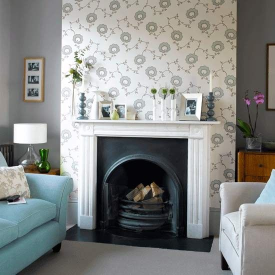 How To Wallpaper A Chimney Breast  Advice Step Guide And Wallpaper Inspiration Chimney Living Room Design Design Ideas