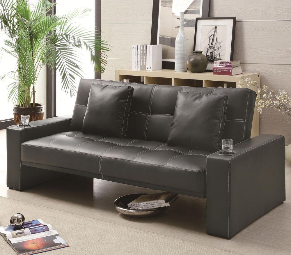 Coaster Furniture 300125 Sofa Bed Sleeper Black Leatherette