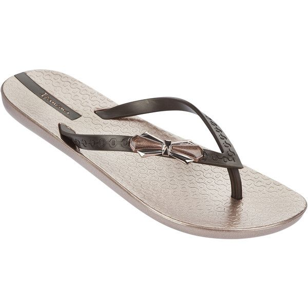 Ipanema Metallic Pink Flip Flops With Brown Straps And Decorative