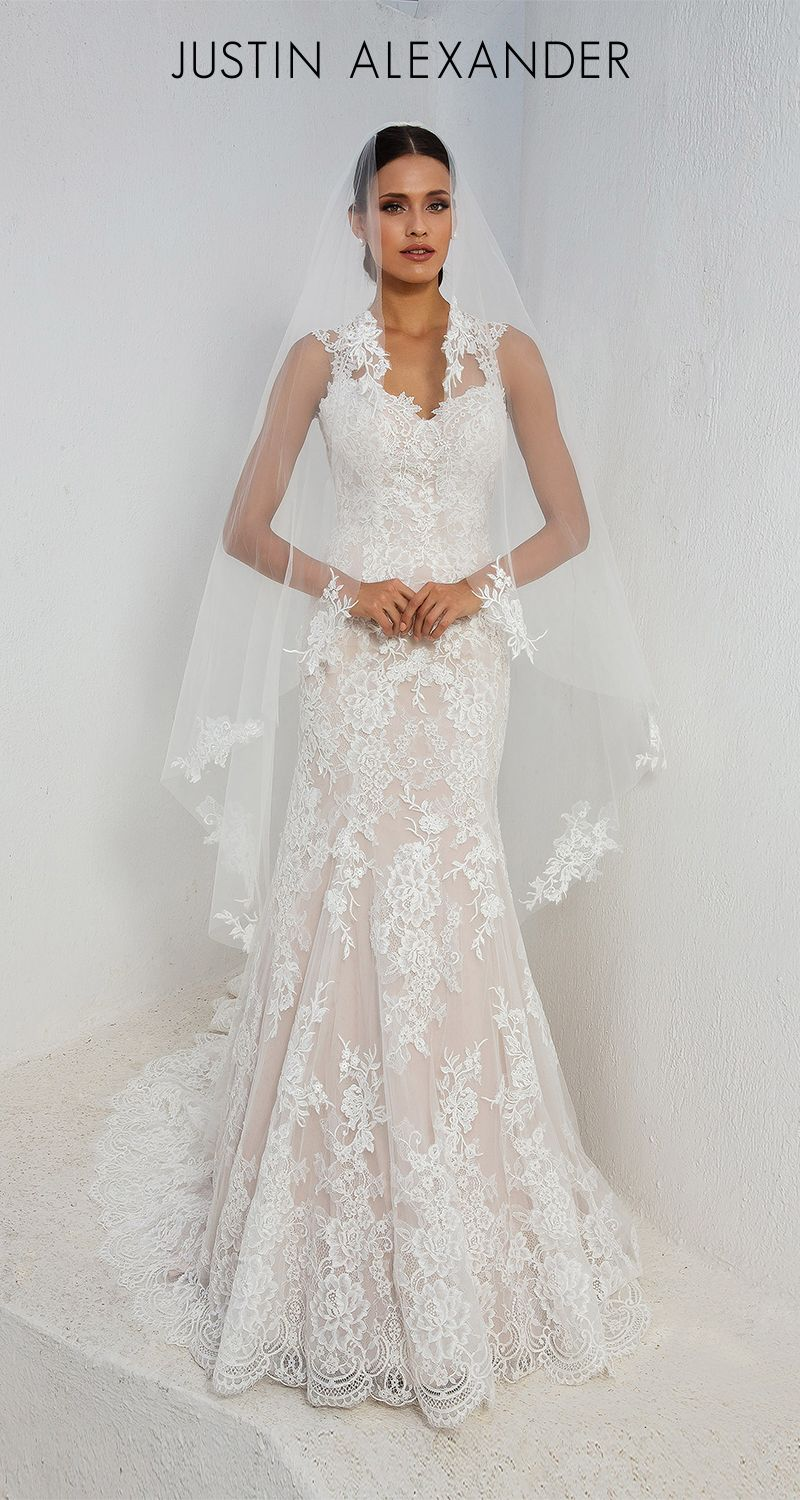 e8dde6a89e Style 88006  A stunning Queen Anne neckline and allover lace fit and flare wedding  dress perfect for the classic bride. Lace appliqués are scattered ...