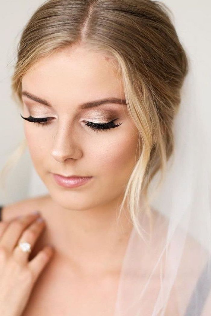 Photo of wedding makeup in gold, blonde hair, wedding ring with stone, festive make-up – hairstyles for women