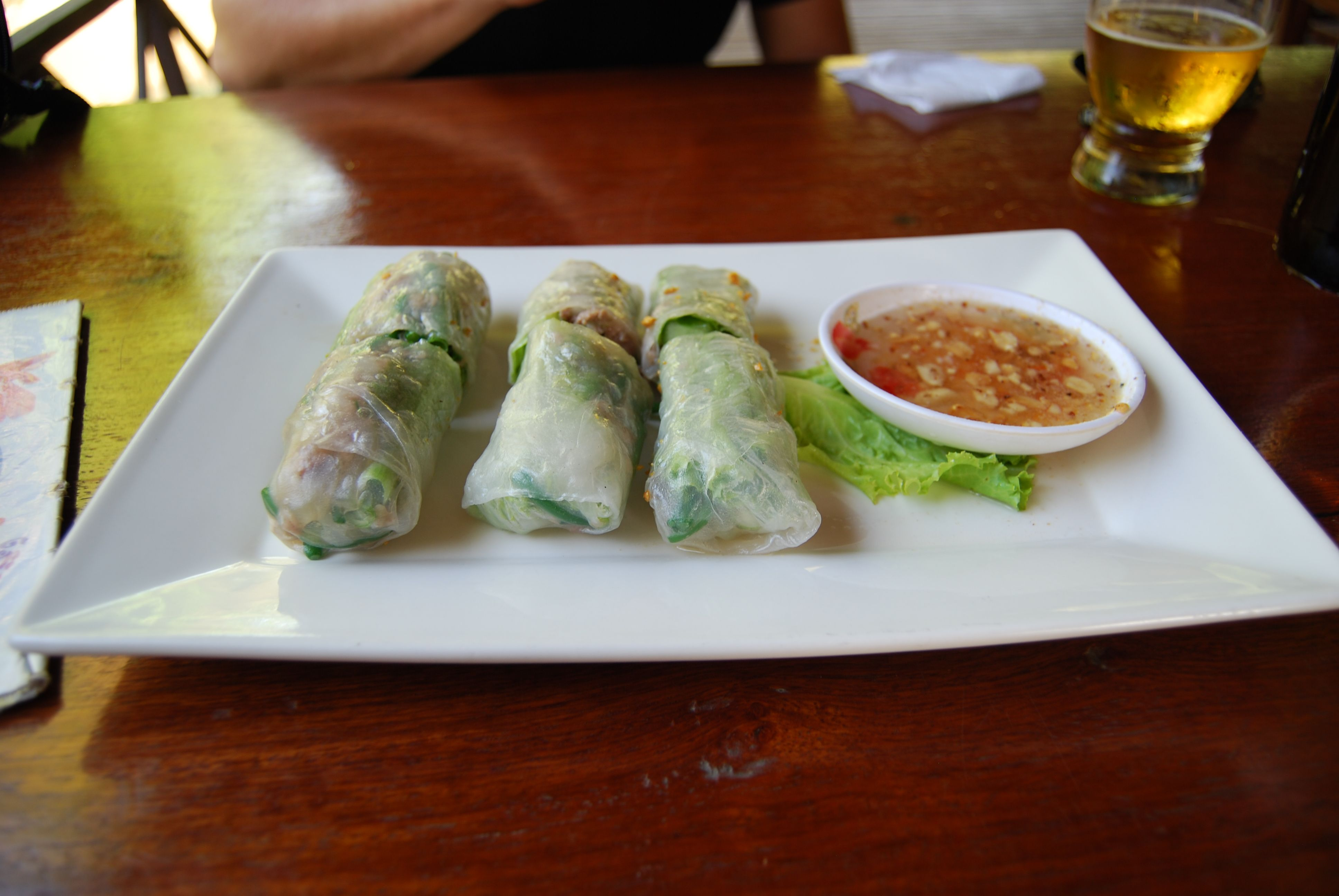 Cambodian pork spring rolls