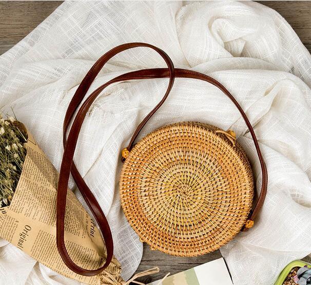Rattan Bag Round Straw Shoulder Bag Small Beach HandBags Women Summer Hollow Handmade Messenger Crossbody Bags