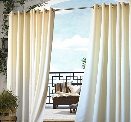 Outdoor Curtains   1 Piece 96 Inch Outdoor Off White Gazebo Curtain White  Color Outside Window