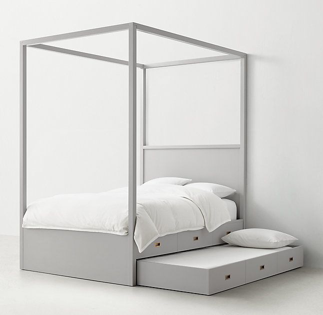 RH TEENu0027s Avalon Canopy Bed with TrundleThe sleek lines of our collection exemplify the  sc 1 st  Pinterest & RH TEENu0027s Avalon Canopy Bed with Trundle:The sleek lines of our ...