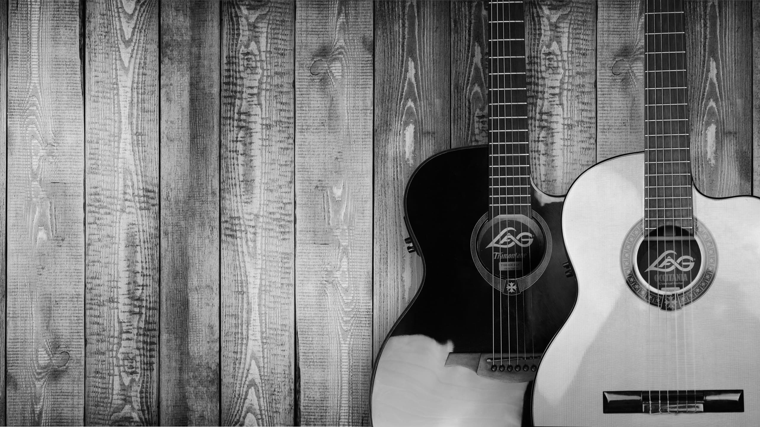 Two Grayscale Acoustic Guitars Wallpaper Antique Art Bass Black And White Easy Guitar Guitar For Beginners Guitar Tips