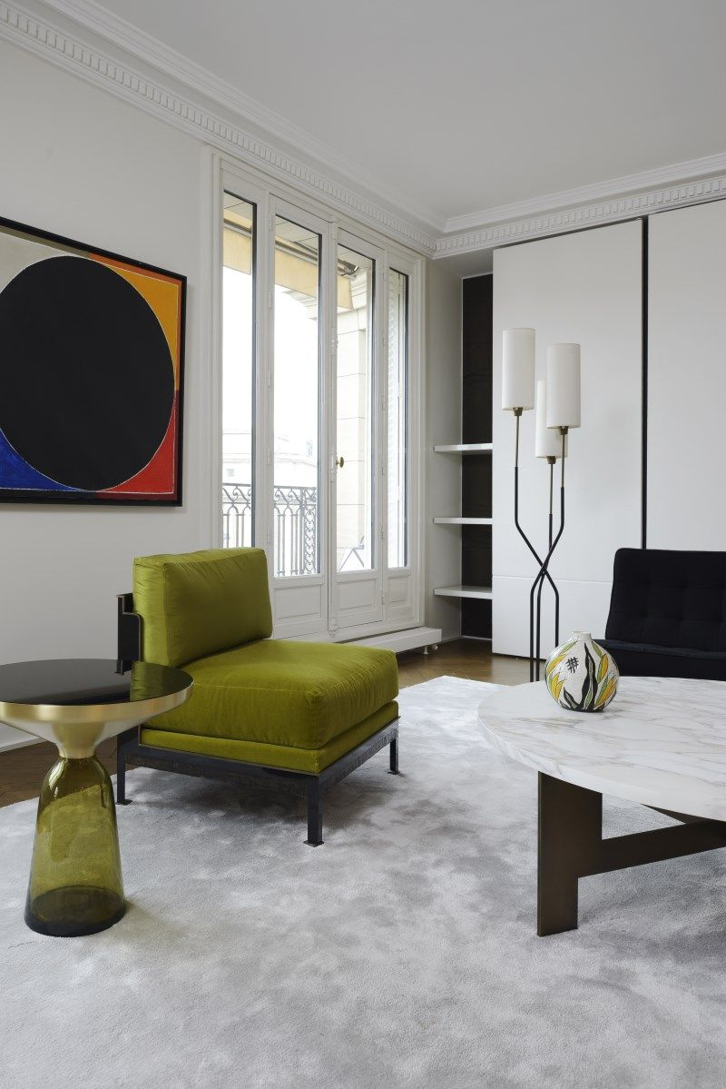 salon la d co contemporaine pur e avec un fauteuil vert olive what a nice salon pinterest. Black Bedroom Furniture Sets. Home Design Ideas
