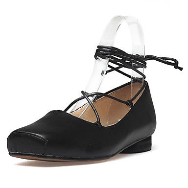 Flats Spring Summer Fall Club Shoes Gladiator Cowhide Outdoor Dress Casual  Flat Heel Low Heel Chunky Heel Laceup Black Almond  GBP