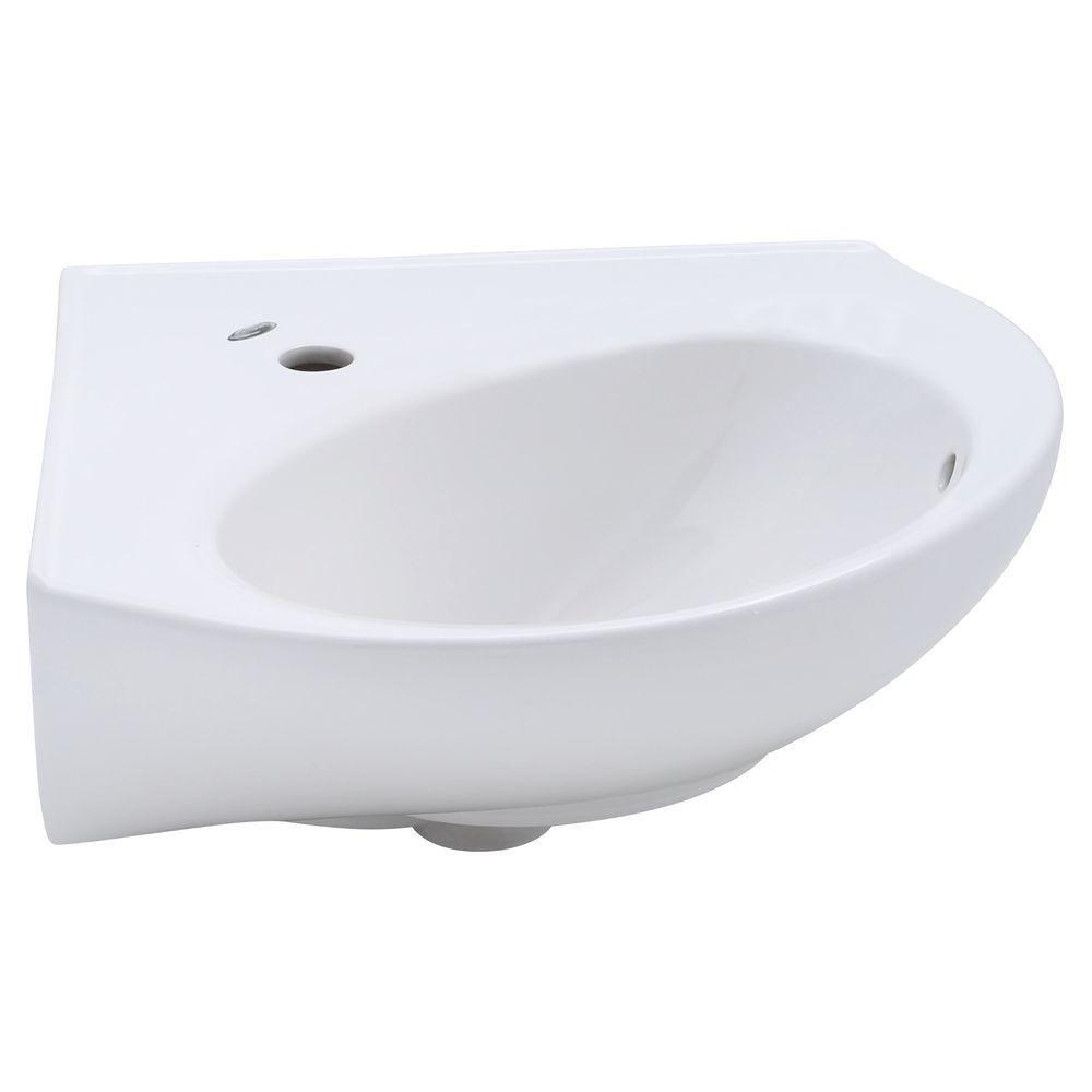 American Standard Cornice Corner Wall Mount Bathroom Sink In White 0611 001 020 The Home Depot Wall Mounted Bathroom Sinks Corner Wall Bathroom Sink