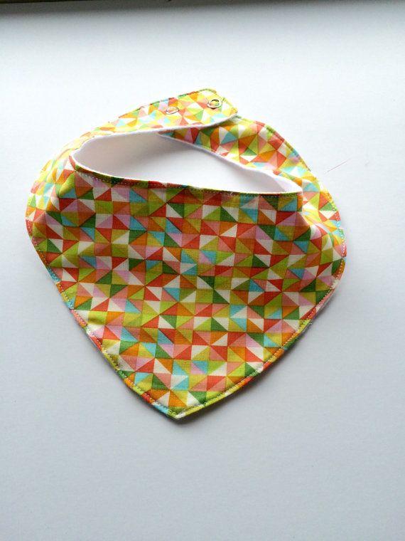 Bandana Bib  Triangle Multi by JamieVanNuysDesigns on Etsy