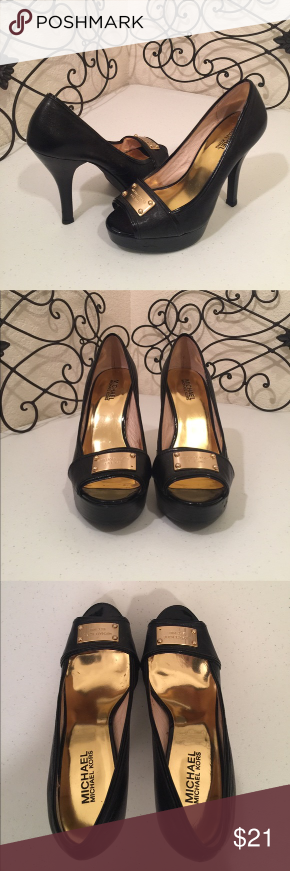 """MICHAEL KORS Leather Platform Heels Leather upper, rubber soles, 4.5"""" heel, 3/4"""" to 1"""" platform. One nail head missing, see photo, not noticeable from a distance, price reflects. PRICE FIRM. Please check out the rest of my🚪closet!💎 MICHAEL Michael Kors Shoes Platforms"""