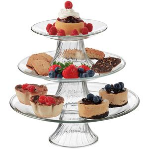 Libbey Stackable 3 Tier Pastalero Serving Platter Set Walmart Com Cake Plates Serving Platters Platters