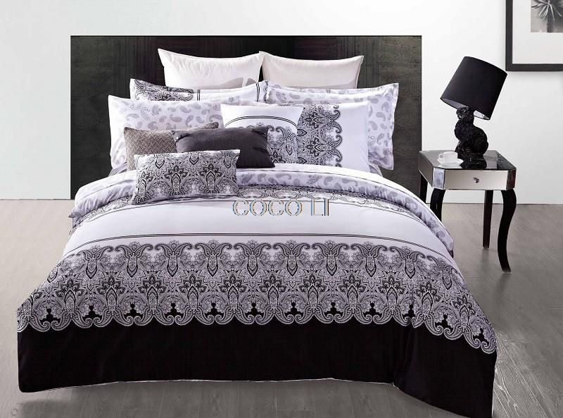 Classic retro printing duvet quilt cover king queen size 4pcs black white bedclothes 100 cotton bedding set 3d duvet cover set affiliate pinterest